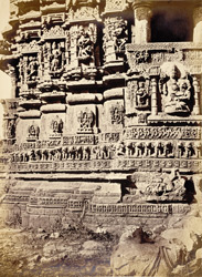 Corner of facade of Navalakha Temple showing carving, Ghumli, Kathiawar
